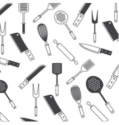 kitchen utensils black pattern silhouette and vector image vector image