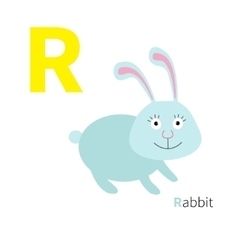 Letter R Rabbit Zoo alphabet English abc with vector image