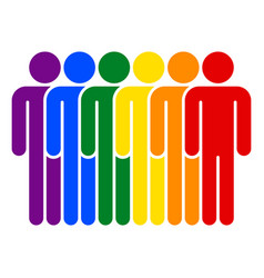 lgbt movement rainbow flag six men vector image vector image