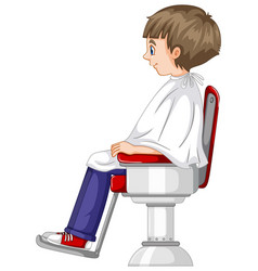 Little boy sits on barber chair vector