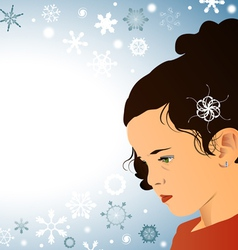 Little girl and snowflakes vector