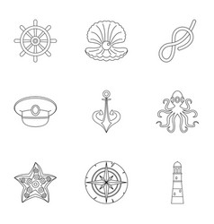 marine icons set outline style vector image vector image