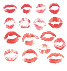 Set of beautiful red lips print on isolated white vector image vector image