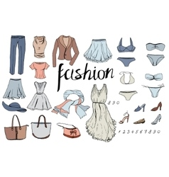 Set of evening woman clothes Objects on white vector image