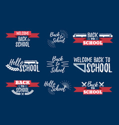 set of school typographic - vintage style vector image vector image