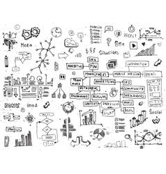 Social network doodles - hand drawn set of media vector