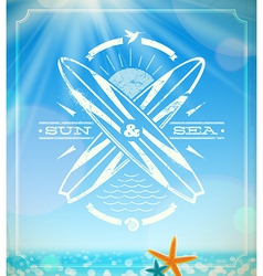 Surfing grunge vintage emblem vector