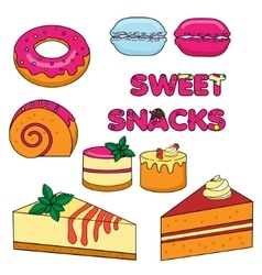 Sweet baked snacks isolated cakes and pastry vector