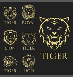Tiger head royal badge with beautiful animal vector