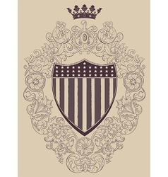 Vintage frame with american shield vector