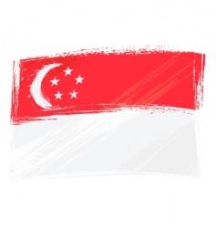 Grunge singapore flag vector