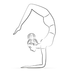 Yoga in the scorpion pose vector