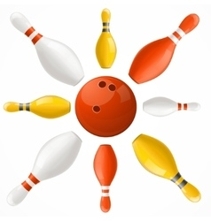 Bowling ball in center pins set vector