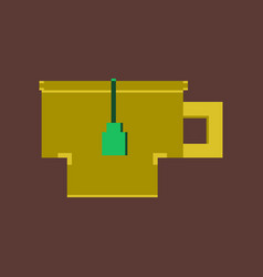 Pixel icon in flat style cup of tea vector