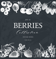 Card with hand drawn berries vector