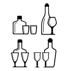 Glass and bottle icons vector