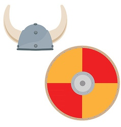 Viking hat and shield vector