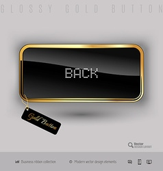 Gold button with black glossy inside vector