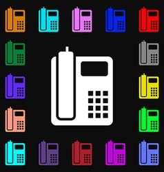 Home phone icon sign lots of colorful symbols for vector