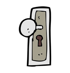 Comic cartoon door knob vector