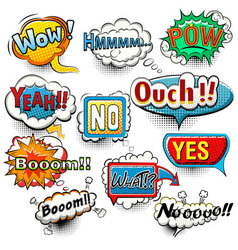 Bright comic speech bubbles screams phrases soun vector