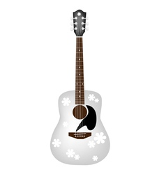 Beautiful Flowers Pattern on White Acoustic Guitar vector image
