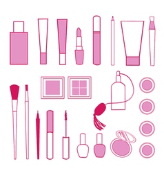 Beauty and care cosmetics red and pink white vector