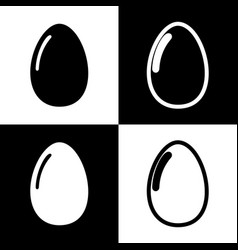 Chicken egg sign black and white icons vector