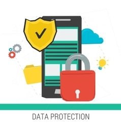 Concept data protection and safe work online vector