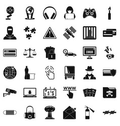 Cyber icons set simple style vector