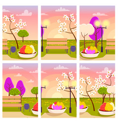empty park with flowers at sunset vector image vector image
