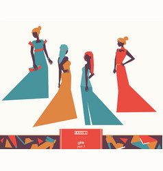 fashion girls in different evening dresses vector image vector image