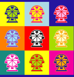 Ferris wheel sign pop-art style colorful vector