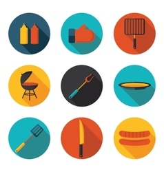 flat icons and grill vector image