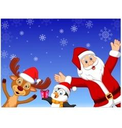 Happy cartoon santa penguin and deer vector