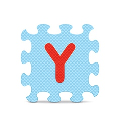 letter Y written with alphabet puzzle vector image vector image