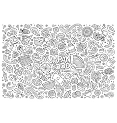 Line art cartoon set of japan food objects vector