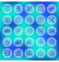 Line Circle Web Programming Icons vector image