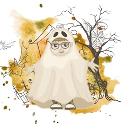 Little ghost halloween background vector