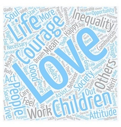 Love and courage text background wordcloud concept vector