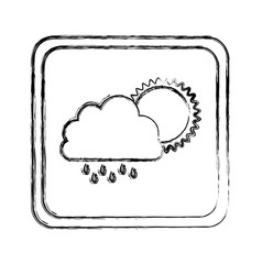 monochrome blurred square frame with cloud with vector image vector image