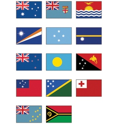 nz australia and oceanian flags vector image