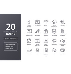 Security line icons vector