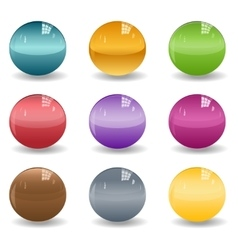 Set of colored spheres or glass balls on white vector
