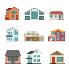 set of cottage building flat icons vector image