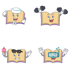 Set of open book character with sailor fitness ice vector