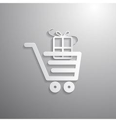 Shopping cart basket symbol with gift box vector