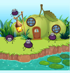 Spiders living in guava house vector