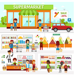 Supermarket infographic elements flat vector