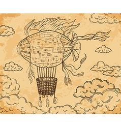 Vintage airship with ribbon and clouds vector